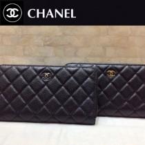 Chanel-50097 香奈兒經典款進口球紋金銀扣拉鏈錢夾