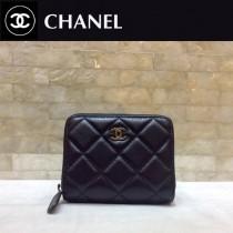 Chanel-69272-04 香奈兒經典款進口球紋牛皮和羊皮風琴拉鏈卡包