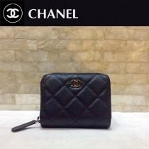 Chanel-69272-05 香奈兒經典款進口球紋牛皮和羊皮風琴拉鏈卡包
