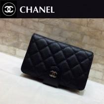 Chanel-48667-08 香奈兒原单进口魚子醬牛皮短折钱夹