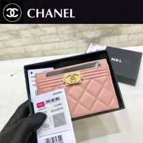 Chanel-84431-04 原版皮 Boy新品卡套 进口球纹片式卡包