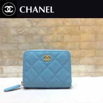 Chanel-69272-02 香奈兒經典款進口球紋牛皮和羊皮風琴拉鏈卡包