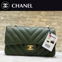 Chanel-1112-01 香奈兒希腊系列之CF折皱V纹牛皮斜挎包