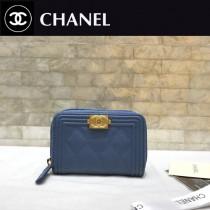 Chanel-80602-07 香奈兒球紋限量boy款拉鏈卡包 零錢包