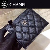 Chanel-84105 原版皮 新款 進口魚子醬牛皮  拉鏈零錢包 卡包   高端品質