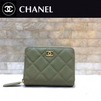 Chanel-69272-01 香奈兒經典款進口球紋牛皮和羊皮風琴拉鏈卡包