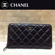 Chanel-50097-03 香奈兒經典款進口小羊皮金銀扣拉鏈錢夾