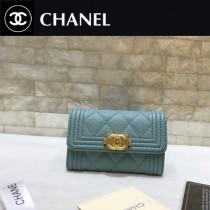Chanel-80603-01 香奈兒新款球紋限量boy款拉鏈卡包