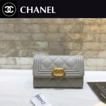 Chanel-80603-03 香奈兒新款球紋限量boy款拉鏈卡包