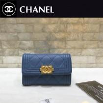 Chanel-80603-02 香奈兒新款球紋限量boy款拉鏈卡包