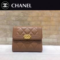 CHANEL-80734-012 香奈兒進口羊皮三折短錢 夾包