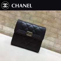 CHANEL-80734-011 香奈兒進口羊皮三折短錢 夾包