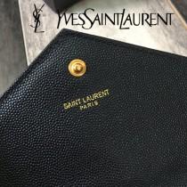 YSL-377828-02 聖邏蘭新款原版皮球紋黑扣信封包
