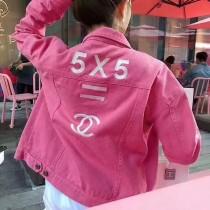 小香粉色牛仔刺繡外套