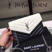YSL新款原版皮 黑白專櫃最新配色 采用頂級牛皮魚子醬