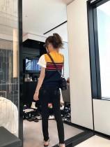 克罗心 新款刺绣拼皮显瘦牛仔裤