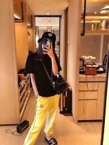 中古小香系列 柠檬黄色收脚运动裤