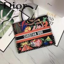 Dior-019-02   迪奧新款原版皮帆布刺繡手提包