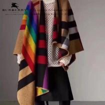 Burberry圍巾-03   巴寶莉新款雙面斜紋彩虹鬥篷披肩