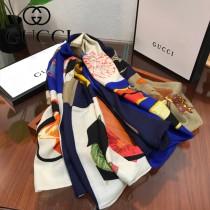 gucci圍巾-018    古馳花卉羊絨方巾