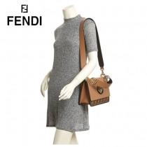 FENDI包包-022   芬迪經典棕色小牛皮搭配雙F壓印鏈條包