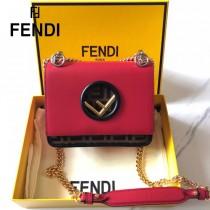 FENDI芬迪  小號原版皮 KANI 雙F壓印定制牛皮 手工編制皮帶飾邊鏈條包