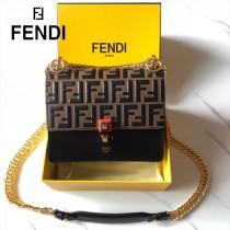 FENDI芬迪  原版皮  Fendi Kan I 最新蓋頭壓牛皮雙F系列鏈條包