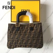 FENDI芬迪  原版皮 經典款式大F字母帆布手提包