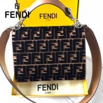 FENDI芬迪  原版皮 中號 Fendi Kan I杏色繡雙F最新款 鏈條包