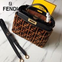 FENDI芬迪  原版皮 中號  新款雙F毛毛植絨系列Peekaboo手提斜背包