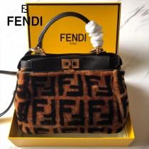 FENDI芬迪  原版皮 小號  新款雙F毛毛植絨系列Peekaboo手提斜背包