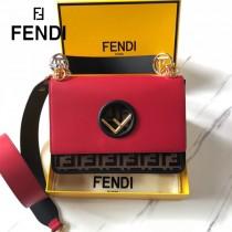 FENDI芬迪  中號原版皮 KANI 雙F壓印定制牛皮 手工編制皮帶飾邊鏈條包