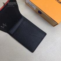 N60097 新款原版皮黑格絲印雕刻阿爾卑斯山短夾