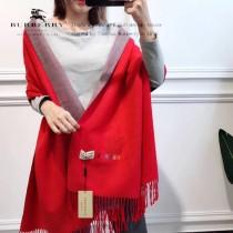Burberry 雙面羊絨彩色刺繡 雙色雙面兩用 尺寸:190x70cm