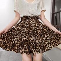 豹紋控的福利 露出美麗的大長腿 韓系野性豹紋半身高腰百褶裙 蓬蓬裙