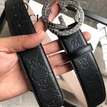 GUCCI皮帶-011-02  古馳原單牛皮壓G面皮帶