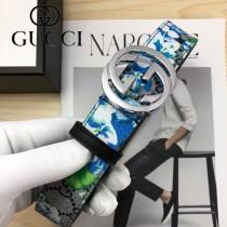 GUCCI皮帶-012-05  古馳原單牛皮塗鴉皮帶
