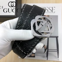 GUCCI皮帶-07-01  古馳原單頭層牛皮壓G皮帶