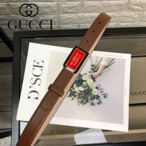 GUCCI皮帶-03-01  古馳原單頭層牛皮水晶平紋皮帶