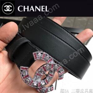 CHANEL皮帶-01-01  香奈兒原單頭層牛皮雙面平紋皮帶