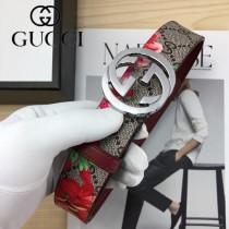 GUCCI皮帶-012-01  古馳原單牛皮塗鴉皮帶