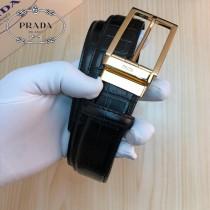 PRADA皮帶-2-04  普拉達原單牛皮鱷魚紋皮帶