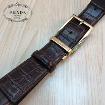 PRADA皮帶-2-01  普拉達原單牛皮鱷魚紋皮帶