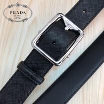 PRADA皮帶-3-01  普拉達原單牛皮細十字紋皮帶