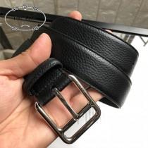 PRADA皮帶-1-01  普拉達原單牛皮荔枝紋皮帶