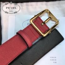 PRADA皮帶-3-02  普拉達原單牛皮細十字紋皮帶