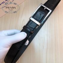 PRADA皮帶-2-03  普拉達原單牛皮鱷魚紋皮帶