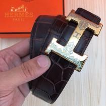HERMES皮帶-1-01  愛瑪仕原單牛皮鱷魚紋皮帶