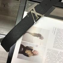 LV皮帶-10-02  路易威登原單牛皮壓格皮帶