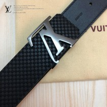 LV皮帶-10-03  路易威登原單牛皮壓格皮帶